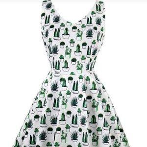 Vintage Style A-Line Cactus Print Dress